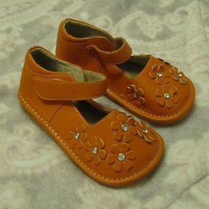 Orange Toddler Sqeaky Mary Jane Shoes size 10
